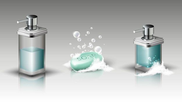 Set of liquid soap bottles and soap bar with foam and bubbles. isolated illustration.