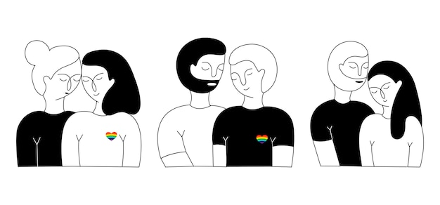 A set of lisbian couple, gay couple and heterosexual couple.