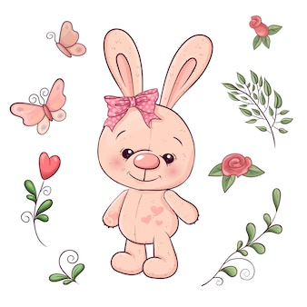 Set of little bunny and flowers. hand drawing. vector illustration