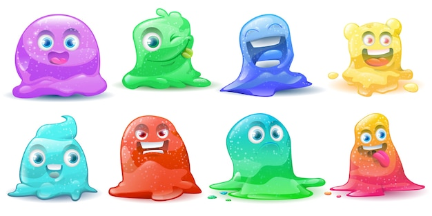 Set of  little cute cartoon colorful glitter