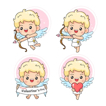 Set of little cute cupid in many pose
