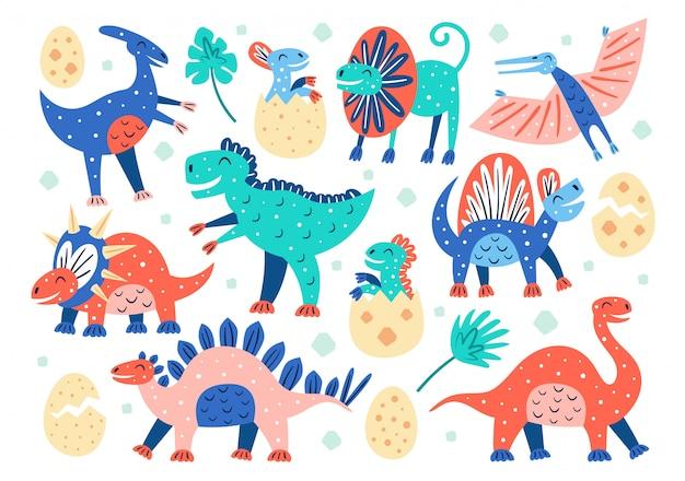Set of little cute dinosaurs. triceratops, t-rex, diplodocus, pteranodon, stegosaurus. prehistoric animals. jurassic world.
