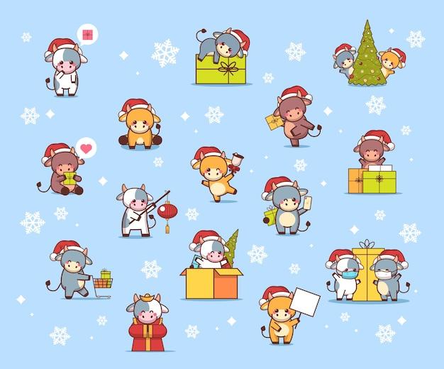 Установить маленьких быков в шляпах санта-клауса с новым годом, милые коровы талисман мультяшных персонажей коллекция полная иллюстрация