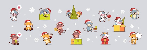 Set little oxes in santa hats happy new year   greeting  cute cows mascot cartoon characters collection full length   illustration