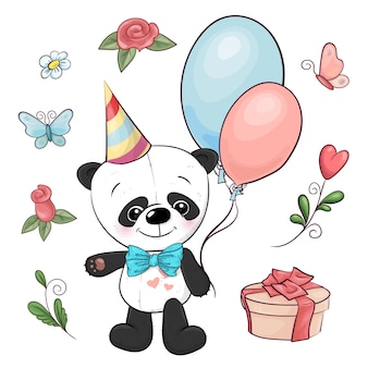 Set of little panda and flowers. hand drawing. vector illustration