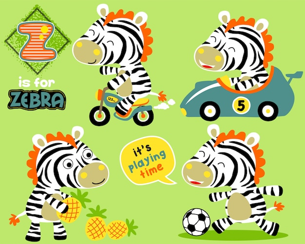 Set of little zebra with toys