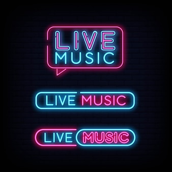 Set of live music neon sign signboard effect
