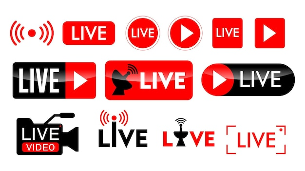 Set of live streaming icon or live broadcasting online concepts in flat style design