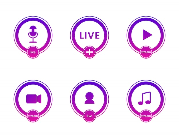 Set of live streaming icons. gradient symbols and buttons of live streaming, broadcasting, online webinar. label for tv, shows, movies and live performances. flat illustration.