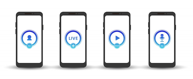 Set of live streaming icons. gradient symbols and buttons of live streaming, broadcasting, online webinar. label for tv, shows, movies and live performances. vector flat illustration. eps10.