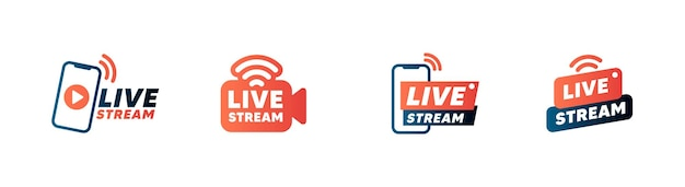 Set of live streaming icons and video broadcasting.