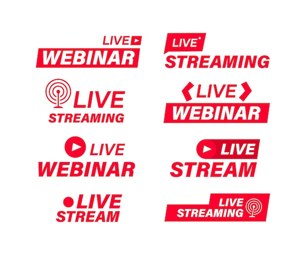 Set of live streaming and live webinar icons