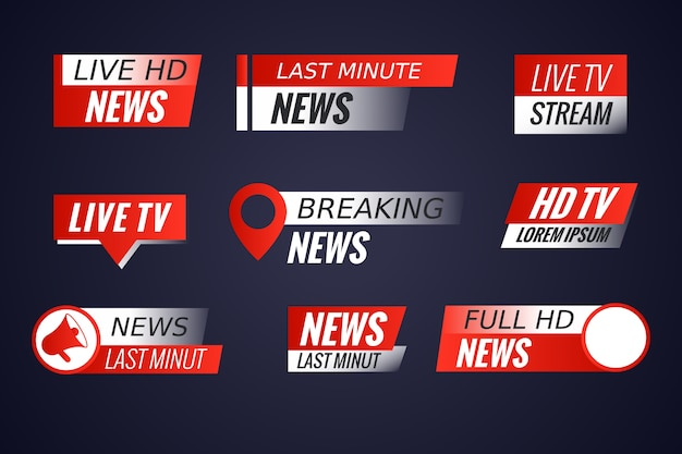 Set of live streams news banners