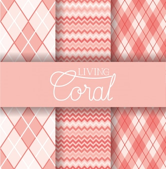 Set of living coral seamless pattern