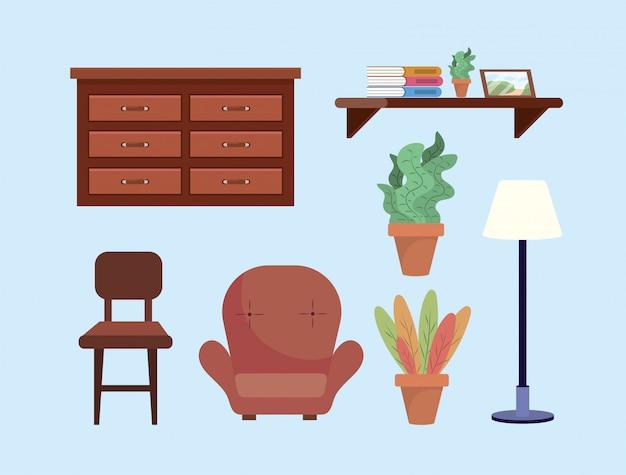옷장과 의자가있는 거실 장식 설정 무료 벡터