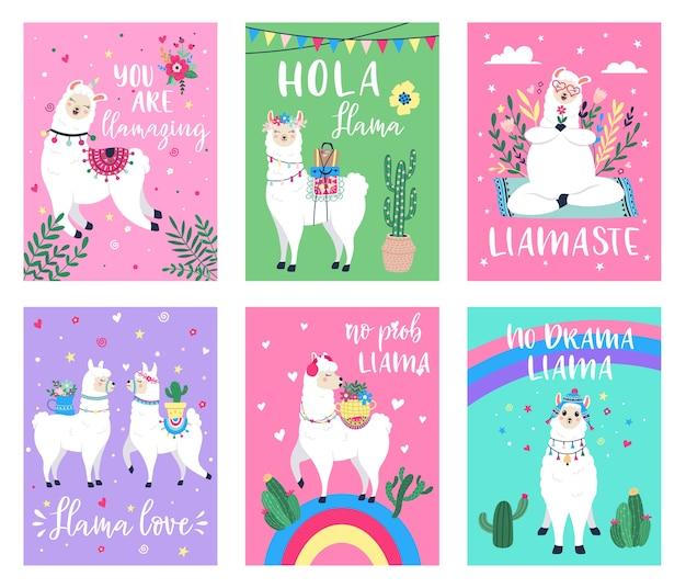 Set of llama posters