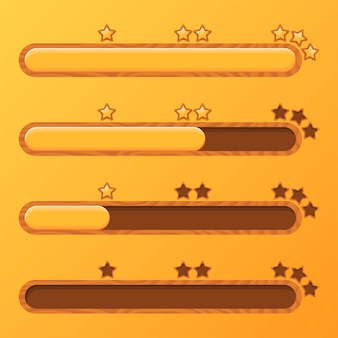 Set of loading bars with yellow stars