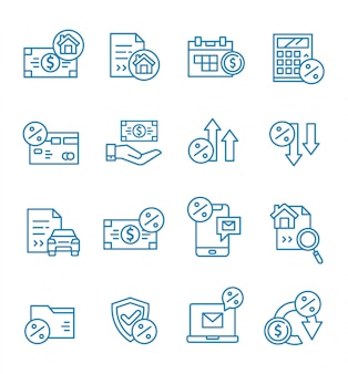 Set of loan icons with outline style.