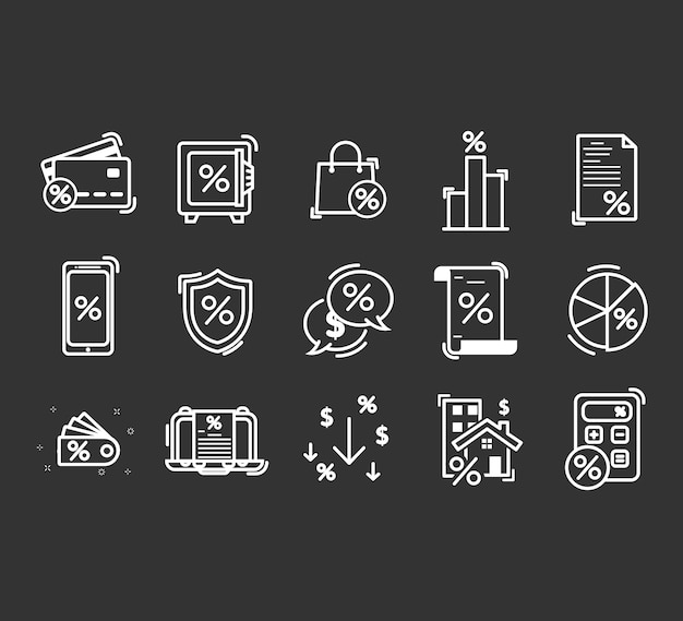 Set of loan related line icons.