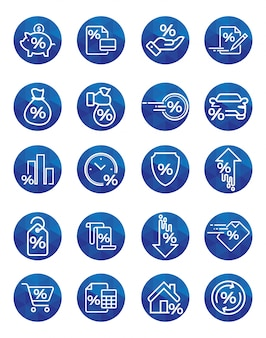 Set of loan related vector icons