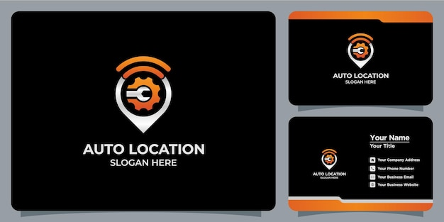 Set of location and automotive logos and business cards