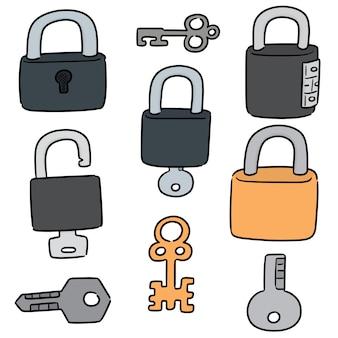 Set of lock and key