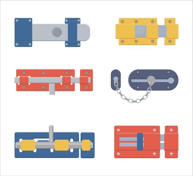 Set of locks, latchs, door bolts.