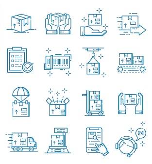 Set of logistic and delivery service icons with ouline style