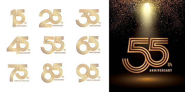 Set of logo anniversary logotype , celebrate anniversary logo third line for congratulation