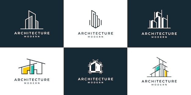 Set of logo architecture with liner concept logo design template