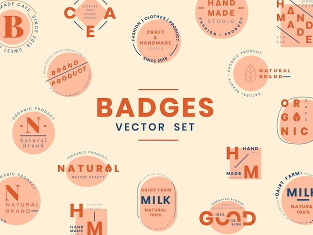 Set of logo badge design vectors