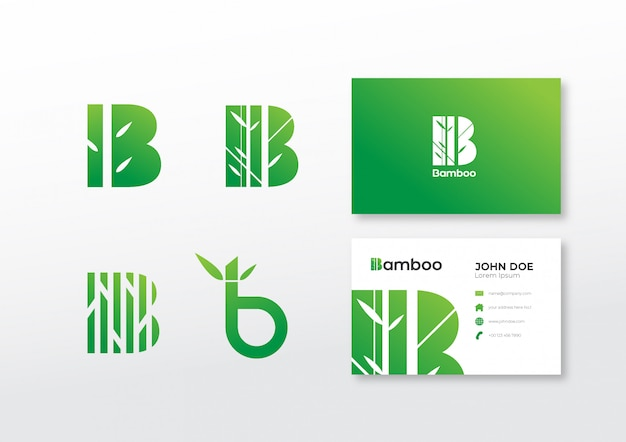 Set of logo bamboo template with business card
