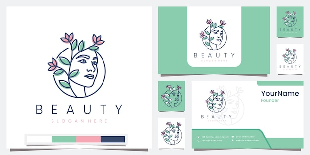 Set logo beauty salon spa with line concept logo design inspiration