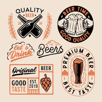 Set of logo beer