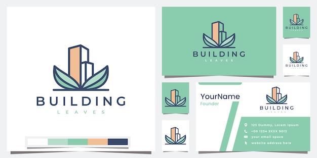 Set logo building company leaves with color version logo design inspiration