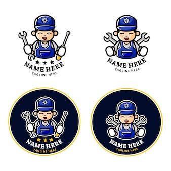 Set logo of cartoon mechanic mascot