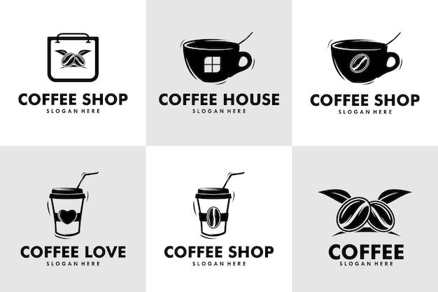 Set of logo coffee design simple label