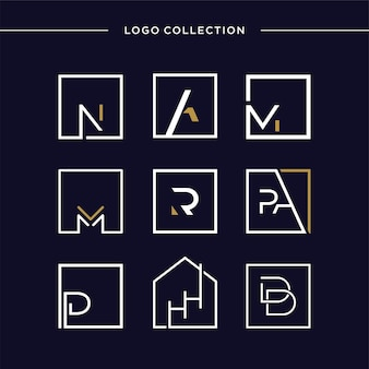 Set of logo collection with square initial concept letter company logo template premium vector