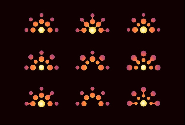 Set of logo concepts with stylized sun consisting of dots like suns rays orange gradient color