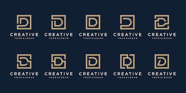 Set of logo design letter d with square style.