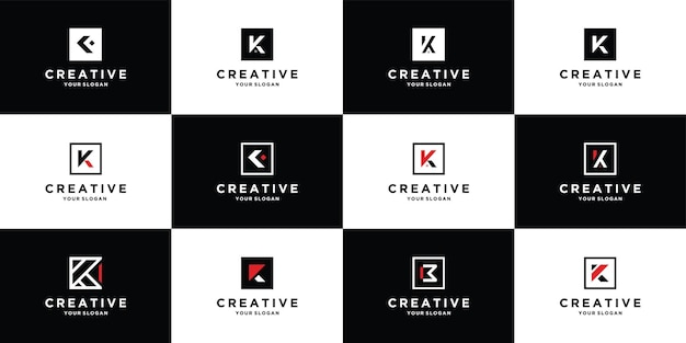 Set of logo design letter k with square style template premium vector
