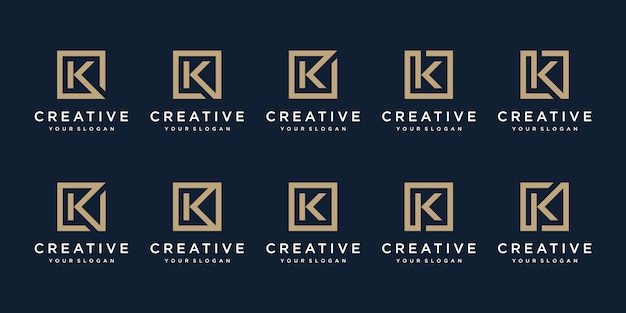 Set of logo design letter k with square style. template