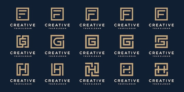 Set of logo design letters f, g, and h with square style.