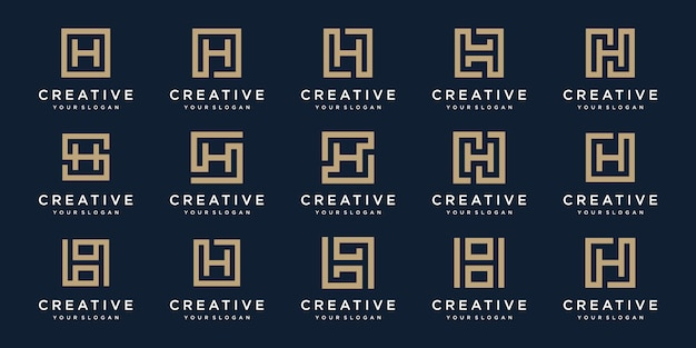 Set of logo design letters h with square style.