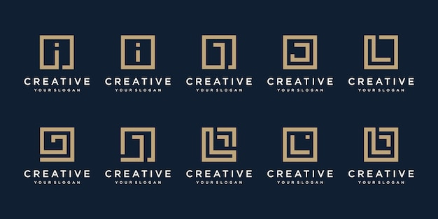 Set of logo design letters i, j and l with square style.
