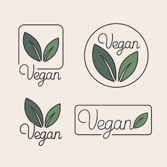 Set of logo design templates and badges in trendy linear style with green leaves