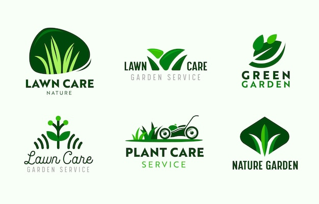 Set of logo garden and lawn care service