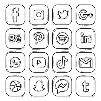 Set logo icon social media hand drawn doodle