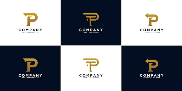 Set of logo initials monogram letter p
