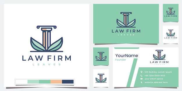 컬러 버전 로고 디자인 영감으로 로고 법률 사무소 잎 설정
